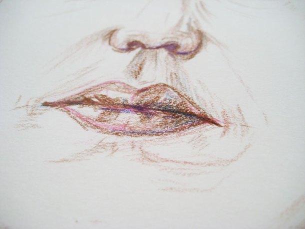 Self-portrait close-up mouth