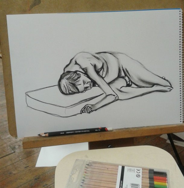 Half way through the second pose - figure drawing
