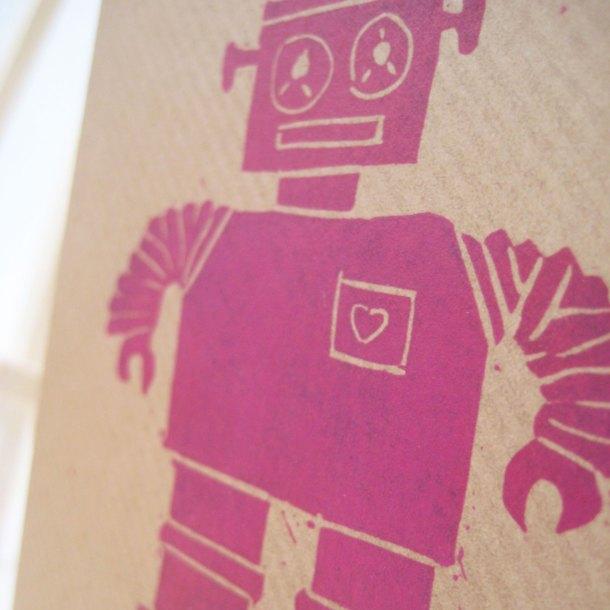 Pink robot handprinted linocut card