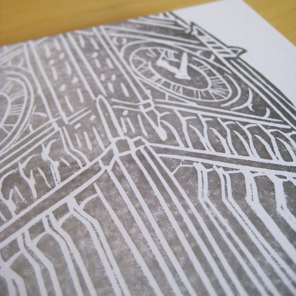 Big Ben handprinted linocut card