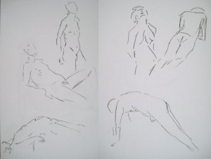 Series of warm-up 1 minute sketches - figure drawing
