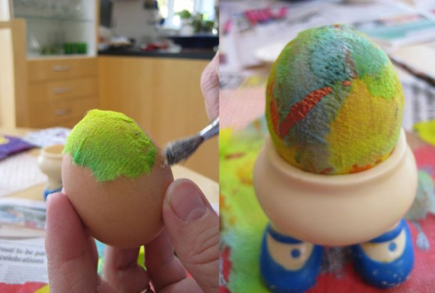 Eggs decorated with paper