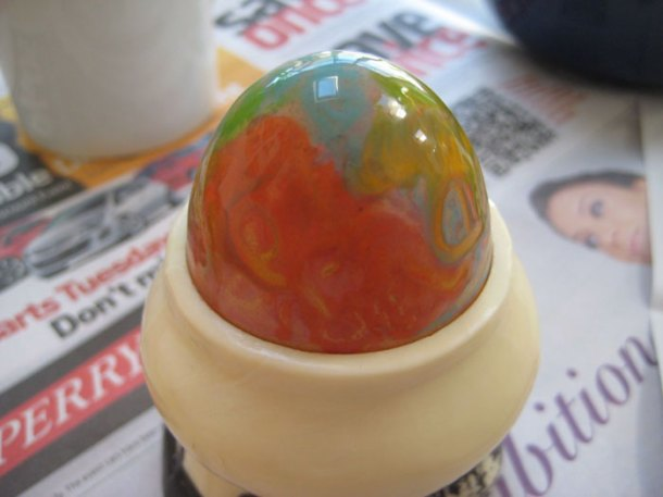 Melted crayon egg