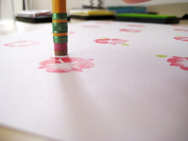 Using the rubber on a pencil to create pattern