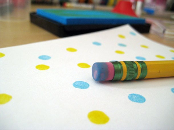 Printing with the rubber on a pencil