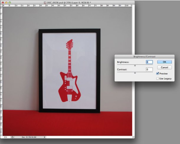 Adjusting the brightness and contrast in Photoshop