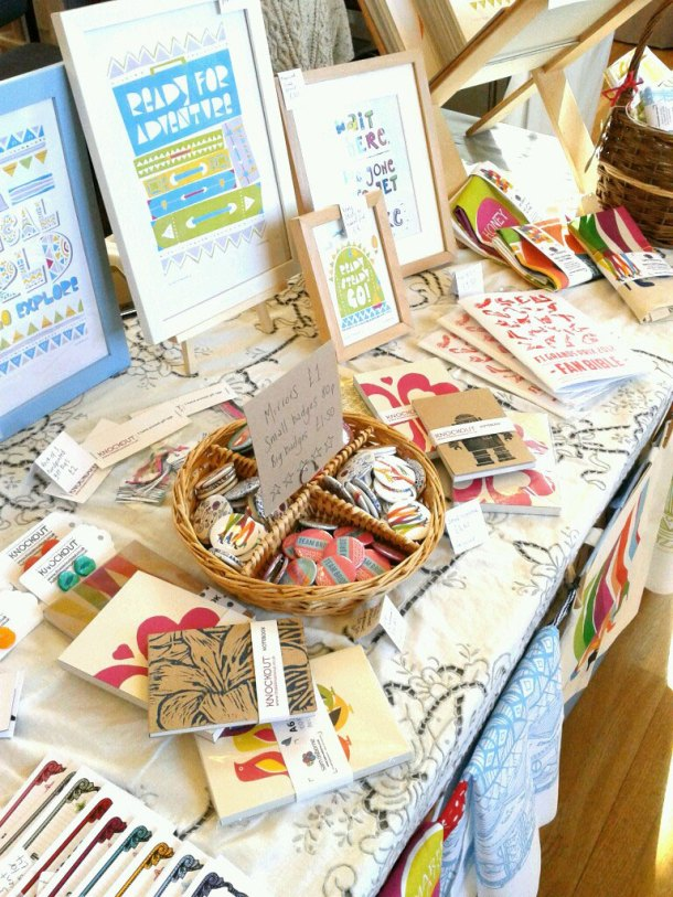 Badges, notebooks and prints at Thame craft fair