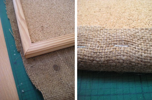 Wrap the hessian sack around the cork board amd staple