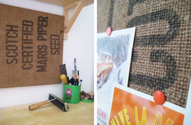 Hessain sack covered cork board