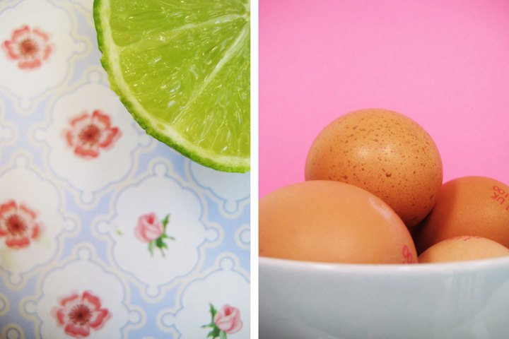 Green limes and pink eggs - food photography