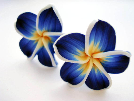 Blue Hawaii flower clip on earrings by LoveLittleDarling