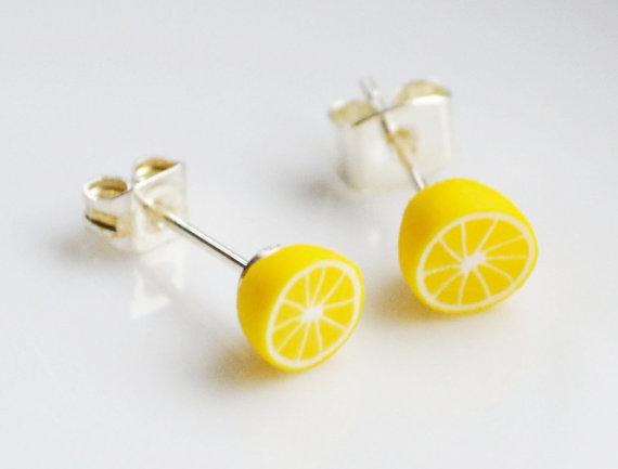 Lemon stud earrings by SweetnNeatJewellery