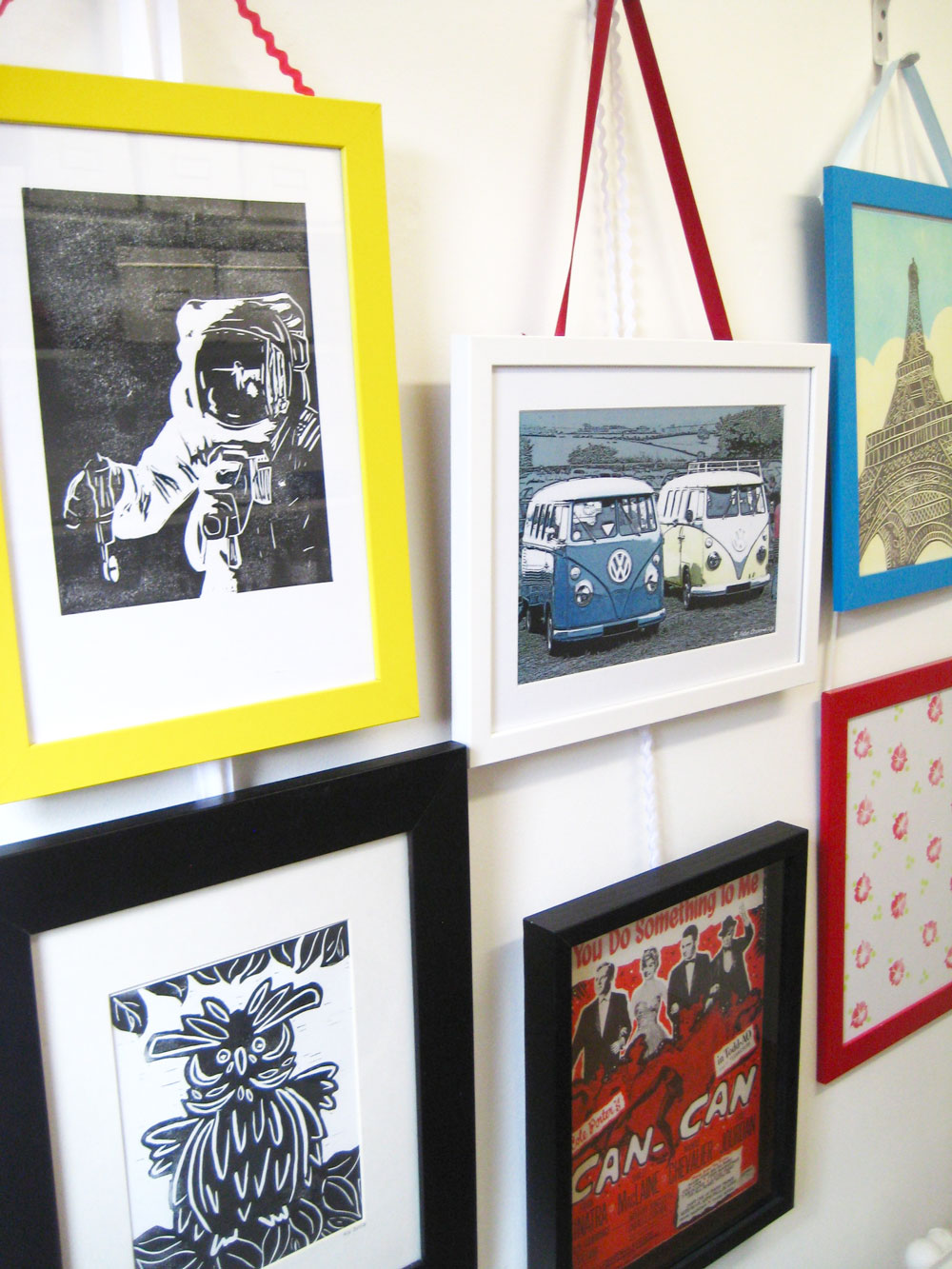 Make a feature wall of your framed prints thisisknockout using ribbon to hang frames jeuxipadfo Images