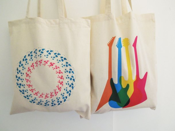 Guitar tote bag and doilie printed tote bag