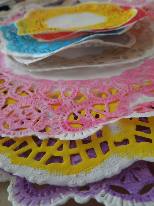 Doilies used for stenciling