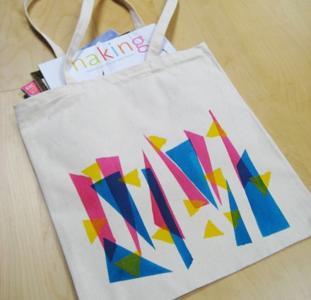 Neon geometric patterned tote bag