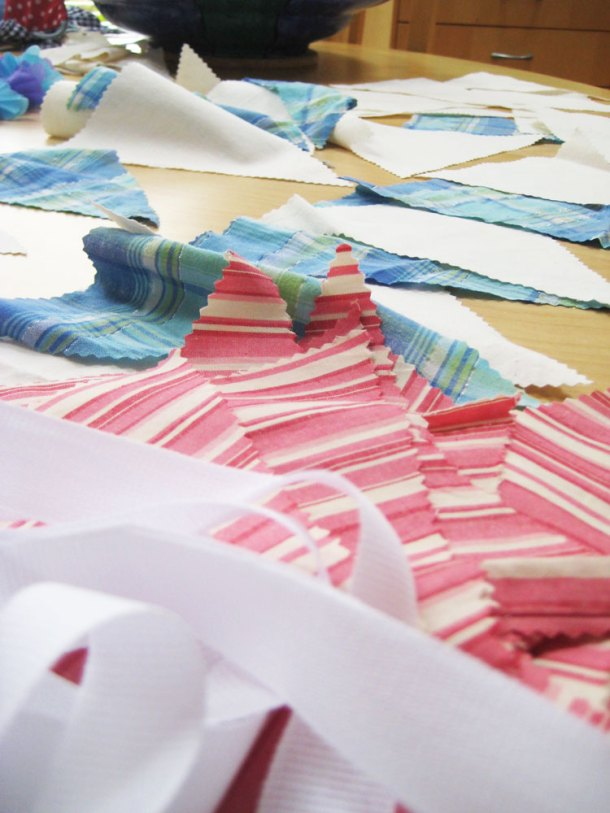 Making bunting from old pj's