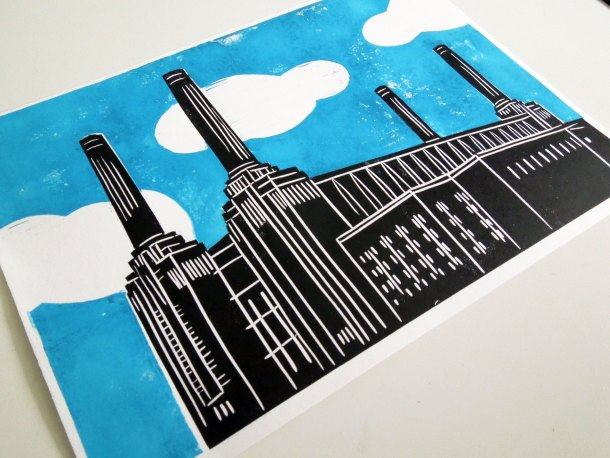 Battersea Power Station London Linoprint