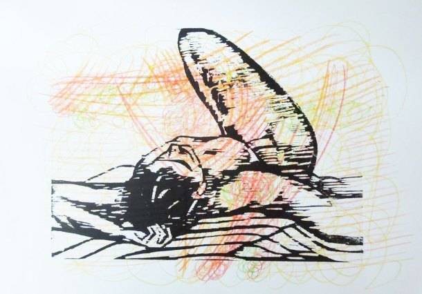Figure drawing woodcut print with coloured pencil background
