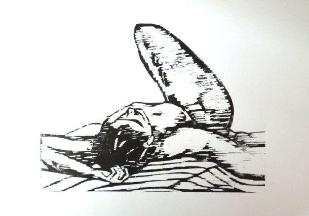 Figure drawing woodcut print