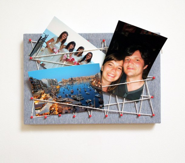 Photo display board with string