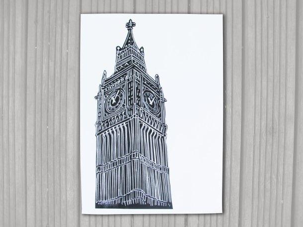 Big Ben linoprint