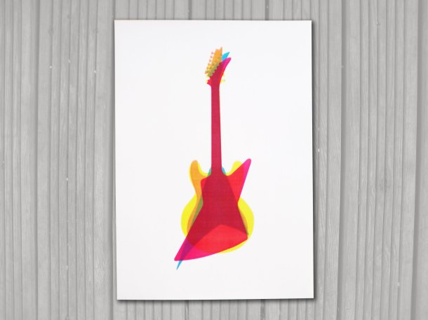 Overlapping guitar print