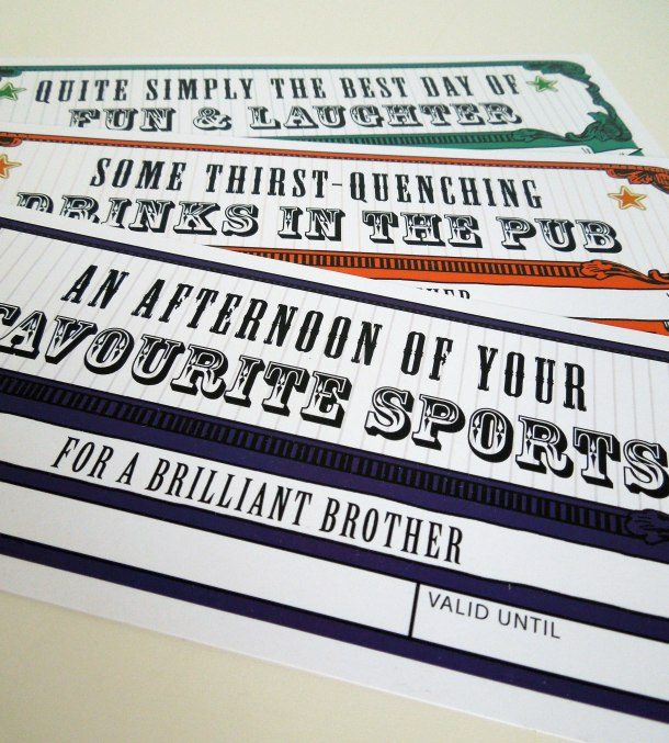 Gift vouchers for brother
