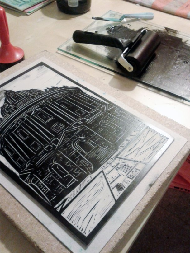 Linoprint - black ink