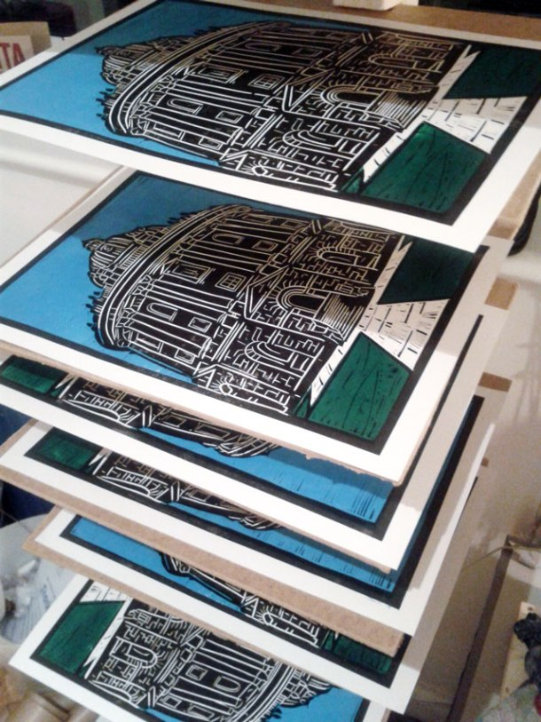 Drying Oxford linoprints