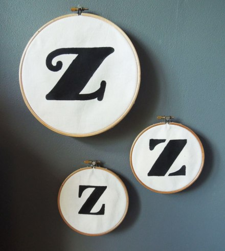 Stencilled embroidery hoops
