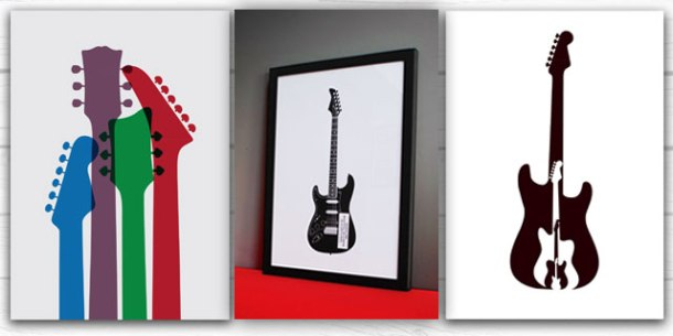 Knockout guitar prints