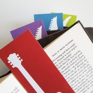 set of 4 guitar bookmarks