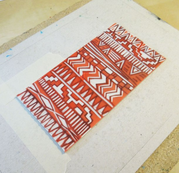 Second colour linoprint