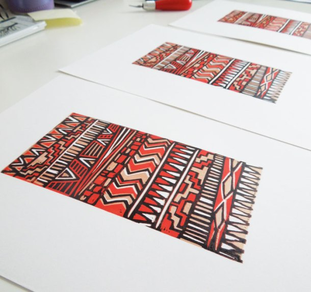 aztec inspired reduction linoprint