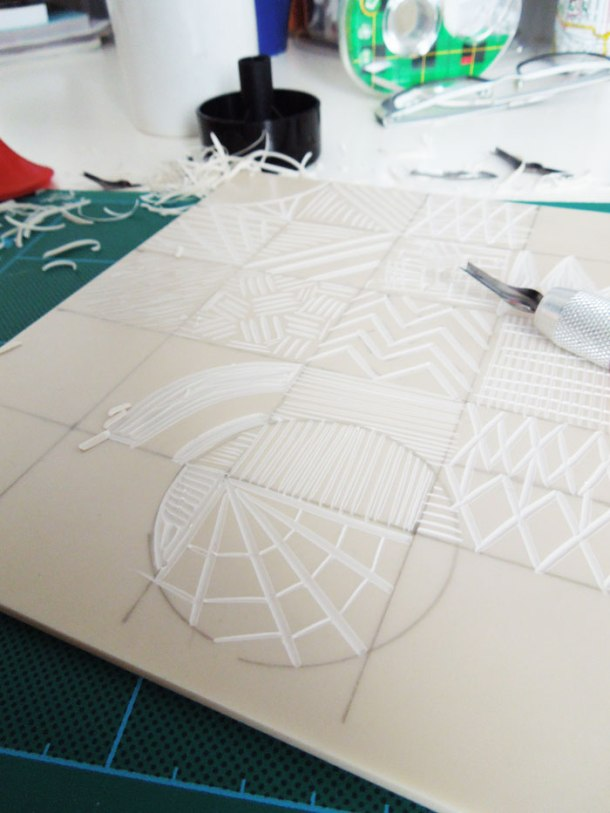 cutting lino grid
