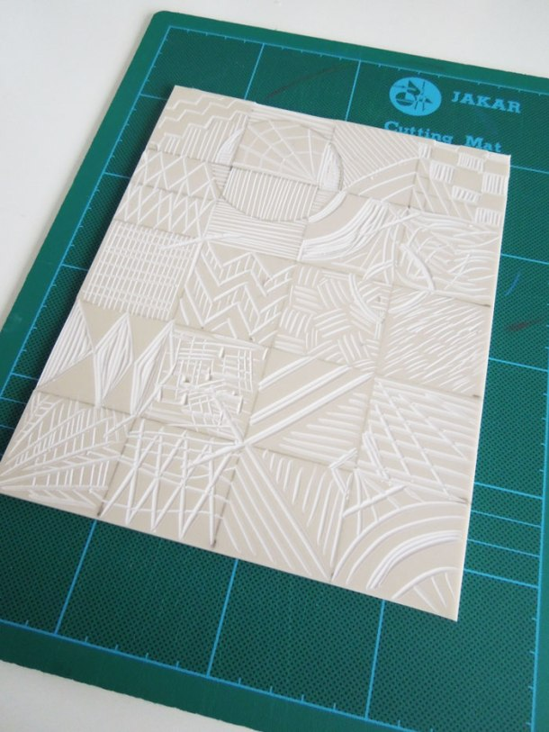finished cut lino for printing