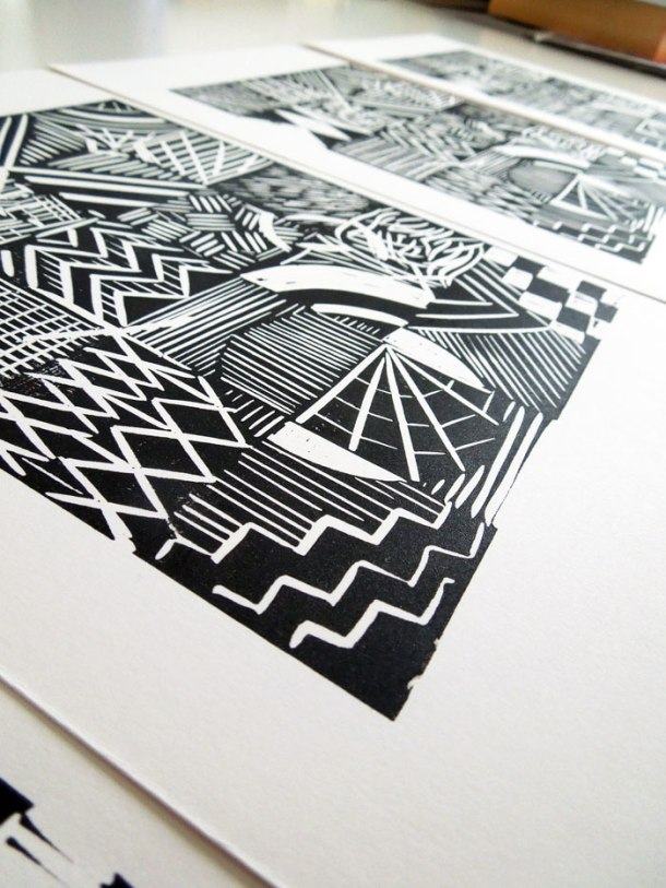 Grid pattern linoprint