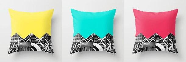 lino print pillows