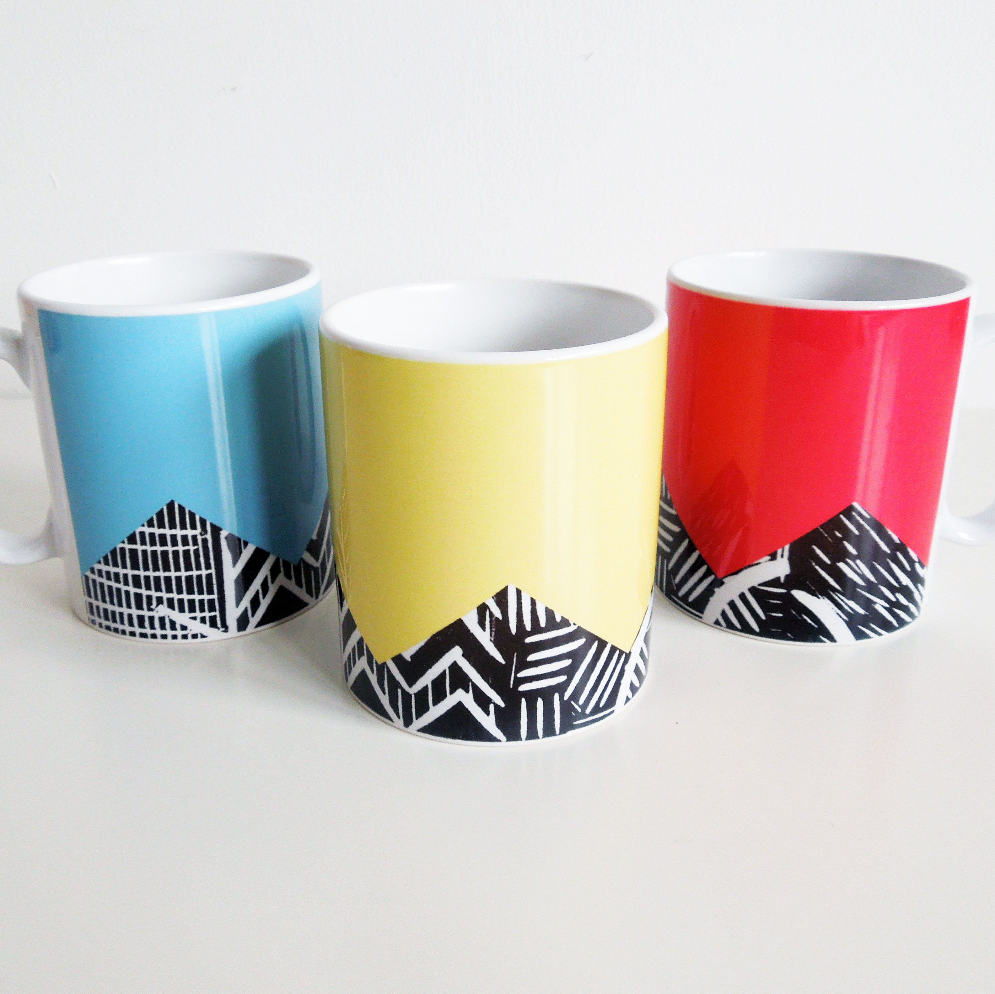 lino print design mugs thisisknockout. Black Bedroom Furniture Sets. Home Design Ideas