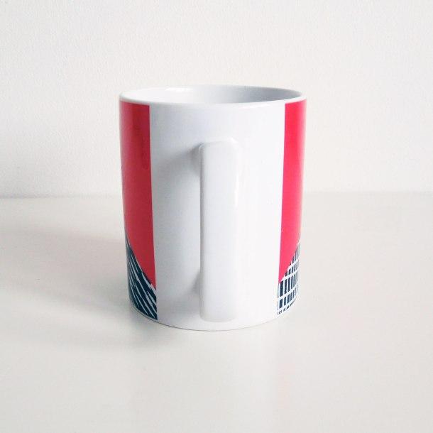 Red lino print mug