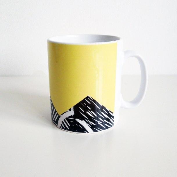 yellow lino print mug