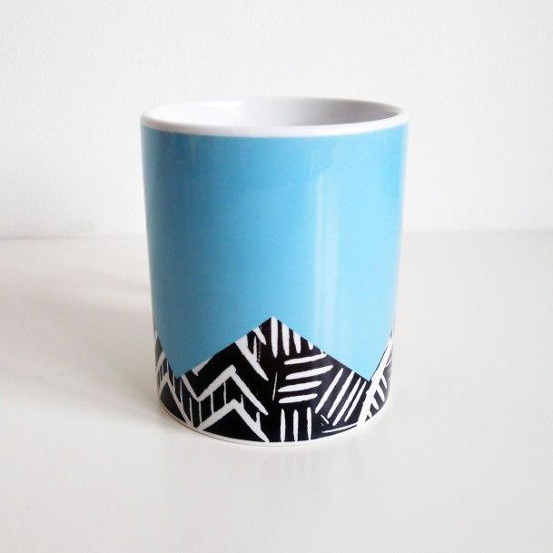 Blue lino print mug