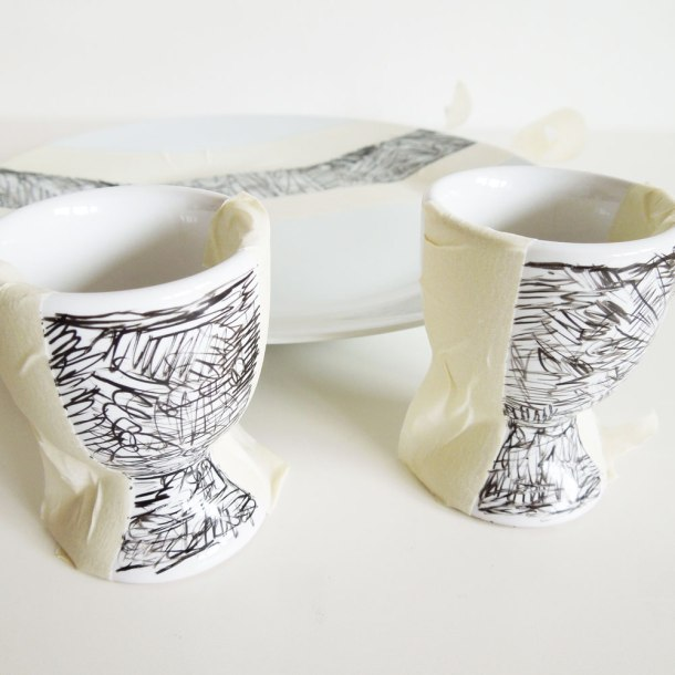 decorate plate and egg cup tutorial