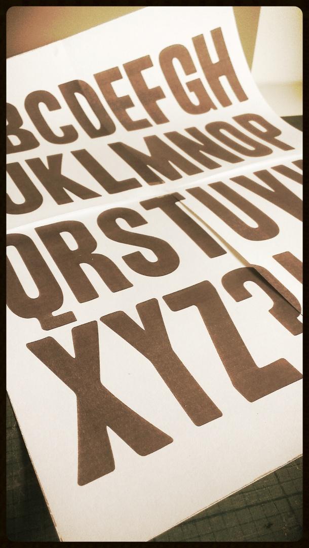 Alphabet lino print