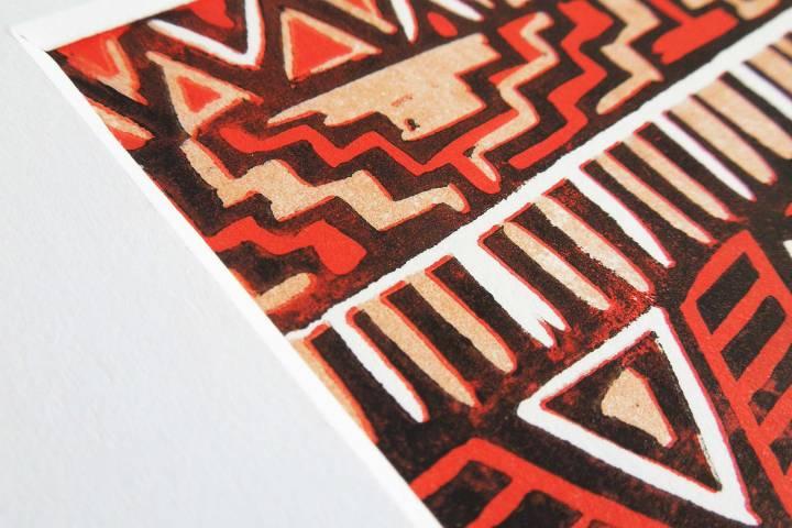 tribal trend lino print