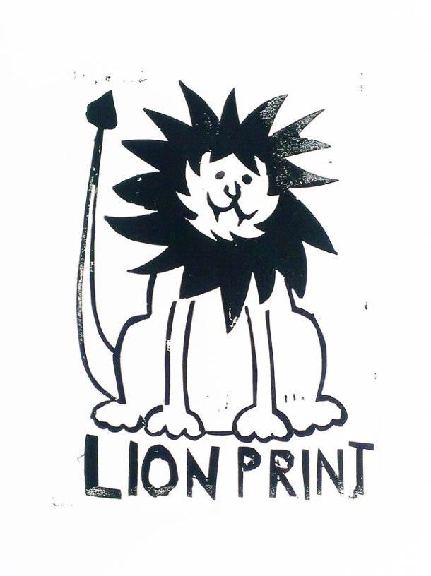 lion print lino print