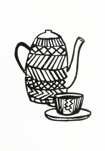 tea set linoprint
