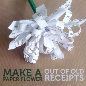 make a paper flower out of old receipts