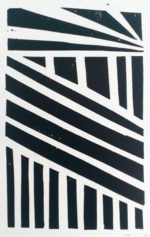 abstract linear lino print